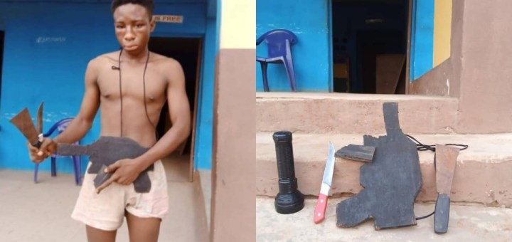The police in Delta state have arrested an armed robbery suspect who specializes in using a dummy gun to rob his victims of their personal items. A statement released by the acting spokesperson of the command, Edafe Bright, states that on June 13, theDivisional Police Officer in the Okpanam Division received a distress call from a resident who claimedthat an armed robber entered into the house with a gun and was forcing victims that do not have cash on them to transfer money to his account. Edafe said the DPO swiftly deployed patrol teams to the area. ''The patrol teams on getting to the scene cordoned the area, and arrested the suspect one Emmanuel Peace 'm' about 18yrs old with a DUMMY WOODEN GUN. The suspect had already successfully forced an aged couple to transfer the sum of six hundred thousand Naira (N600, 000) to an account number owned by one Anwanga Abasi Nathaniel Udo. Other exhibit recovered from the suspect includes two (2) knives and one (1) torchlight.''the statement read He said an investigation into the matter continues.