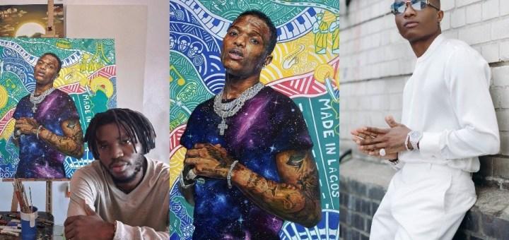 """I want"" - Wizkid acknowledges portrait of him drawn by a Nigerian Artist (Photos)"