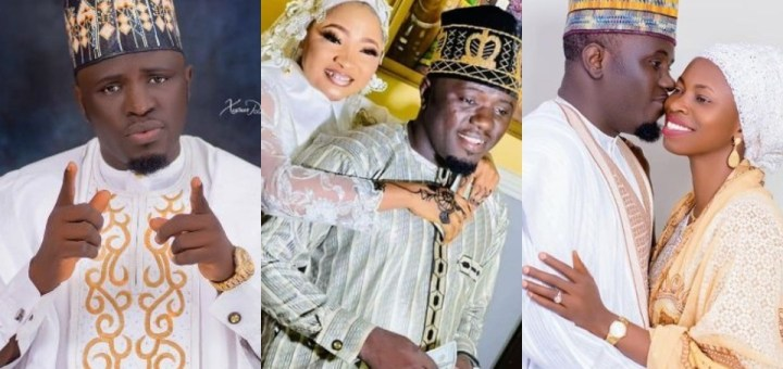 """""""I promise you both to be the best husband"""" - Nigerian Islamic singer, Aponle Anobi says as he shares photos with his two wives"""