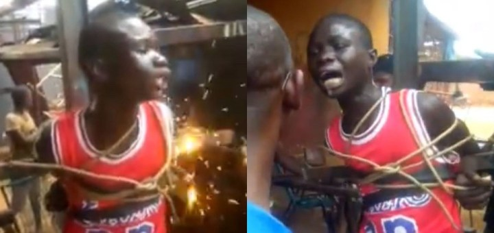 Disturbing Video of a boy begging for mercy as he's tied to a metal cross and subjected to multiple electric shocks
