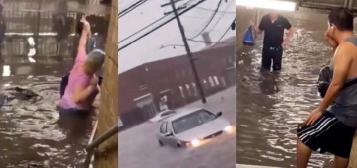 Subway commuters wade through waist-deep dirty water in New York following heavy rain (Video)