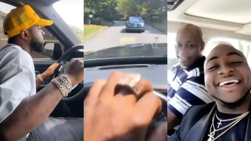 """""""In this life, have money oh!"""" - Nigerians react as Davido and his Dad drive out in a Roll Royce and a Bentley (Video)"""
