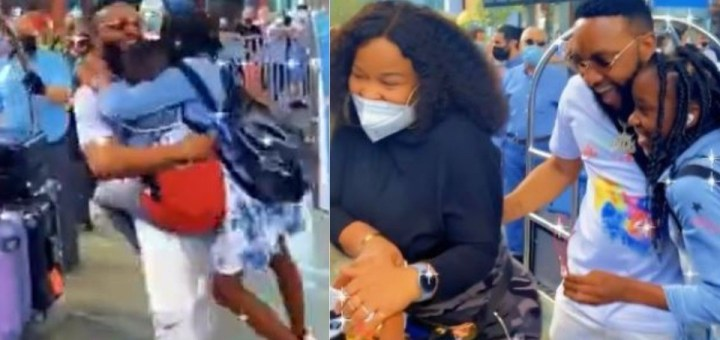 Heartwarming moment singer Kcee's wife and children welcome him at the airport as he visits them in Turkey (Video)