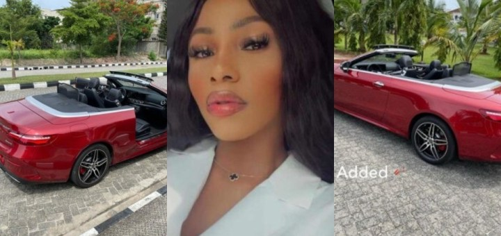 Mercy Eke adds Mercedes Benz Convertible to fleet of exotic cars; (Video)