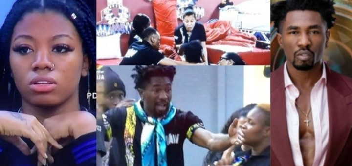 #BBNaija 2021: Reactions as Fight breaks out between Boma and Angel over their Waw task (Video)