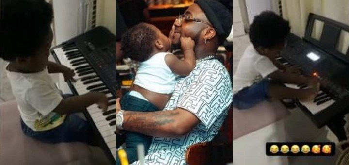 """""""My kids make me so happy"""" - Davido writes as he shares video of his son, Ifeanyi playing the Piano"""