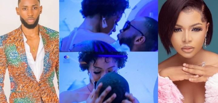 #BBNaija 2021: Emmanuel and Liquorose share Kiss during Saturday Night Party (Photos, Video)