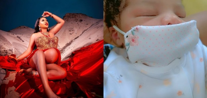 Toyin Lawani shares first full glance at her newborn daughter's face (Video)