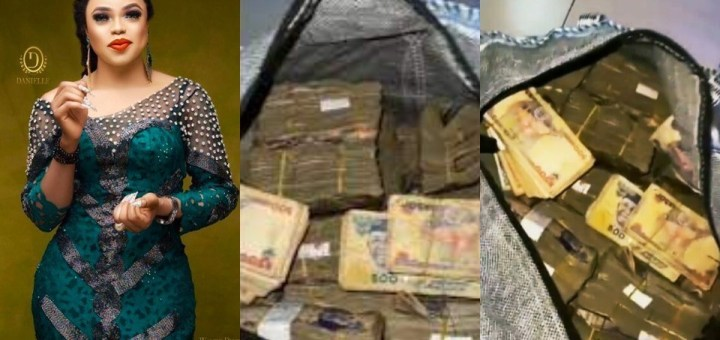 """""""I'm obviously the biggest girl in Nigeria"""" - Bobrisky declares as he shows off big sack of Naira notes (Video)"""