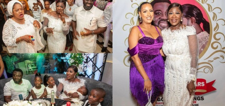 Mercy Johnson Okojie moved to tears in surprise all-white Anniversary/Birthday Party (Photos, Video)