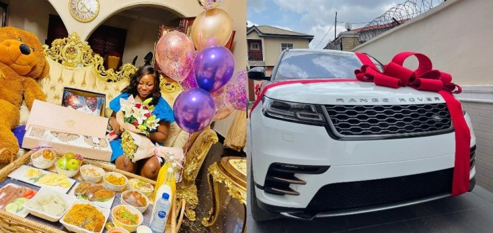 """""""God When"""" – Social Media Users react to Jeweler Kolade gifting his Wife a brand new Range Rover for her birthday."""