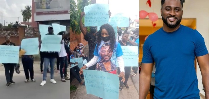 #BBNaija 2021: Pere's fans stage protest amid finale game twist (Photos, Video)