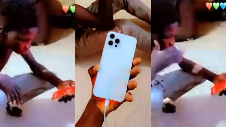 Man shows off fake iPhone 12 he bought at Computer Village in Lagos (Video)