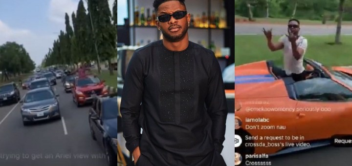Abuja fans welcome BBNaija star, Cross in grand style for homecoming (Video)