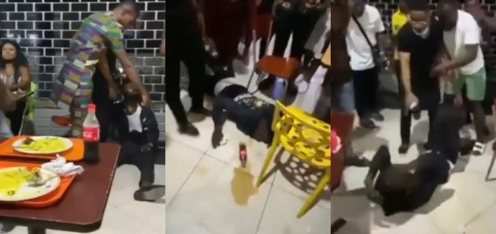 Man starts vomiting seriously after he was forced to consume his friend's drink that he was allegedly caught po!soning (Video)
