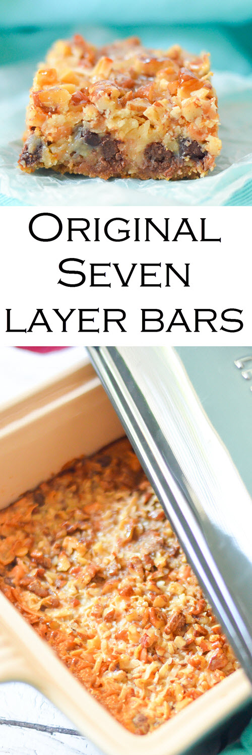 Classic Seven Layer Bars Recipe w. Butterscotch, Coconut, + Graham Cracker Crust #dessert #traditionalrecipes #bars #cookies #cookierecipes #cookiebars #recipes #foodblogger #foodblog""