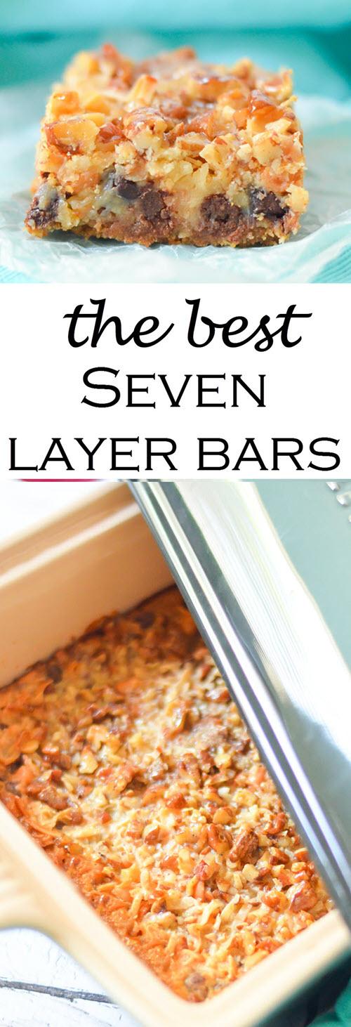 "The Best Seven Layer Bars Recipe w. Butterscotch, Coconut, + Graham Cracker Crust #dessert #traditionalrecipes #bars #cookies #cookierecipes #cookiebars #recipes #foodblogger #foodblog"""
