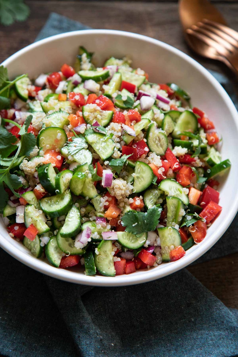 Mediterranean Quinoa Salad - Close Up in ServingBowl