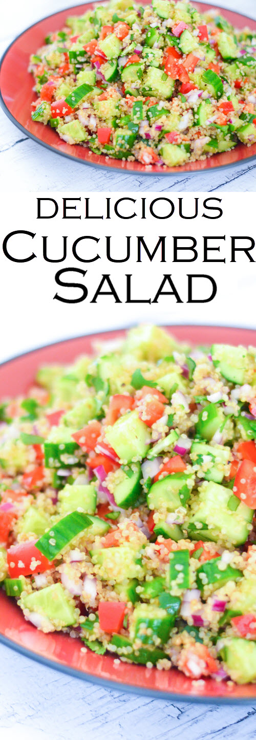 Mediterranean Cucumber Salad with chopped veggies and quinoa. A plantbased salad that's a crowd pleaser. This healthy quinoa salad is the perfect potluck dish. #LMrecipes #quinoa #salad #vegan #plantbased #healthyrecipes #foodbloggers #cucumbers #potluck