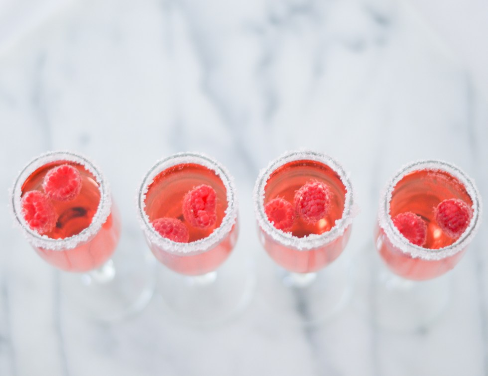 Easy Galentine's Day Drink Ideas Rose Raspberry Cocktail