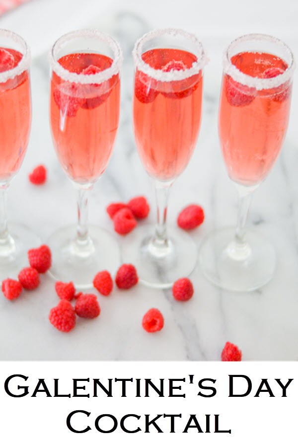 Easy Raspberry Galentine's cocktail with rose. This pink, red drink recipe is perfect for Galentine's Day and Valentines! #LMrecipes #drinks #drinkrecipe #cocktail #rosewine #raspberry #valentinesday #galentinesday #recipe #mixology #cocktailhour