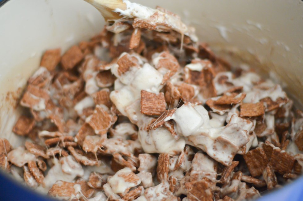 Marshmallow and Cereal in Pot