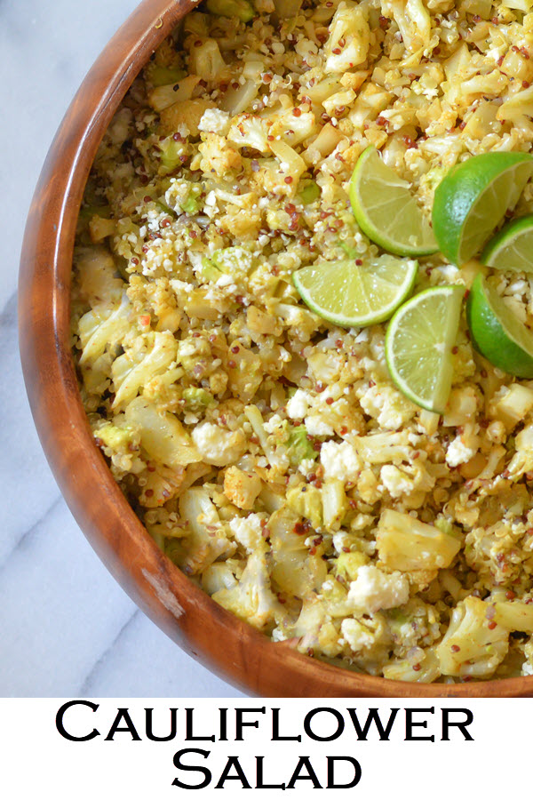 Cauliflower Salad w. Quinoa. Mexican salad flavors with delicious, healthy roasted cauliflower. Delicious make-ahead recipe. Dish can be served warm or cold. #LMrecipes #vegetarian #cauliflower #foodblog #sidedish #cauliflowerrecipe #Mexicanfood #mexican recipes #quinoa #quinoarecipe #healthyrecipe #healthy #foodblogger