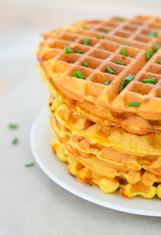 Savory Cornmeal Waffles - Chive + Cheddar Waffles