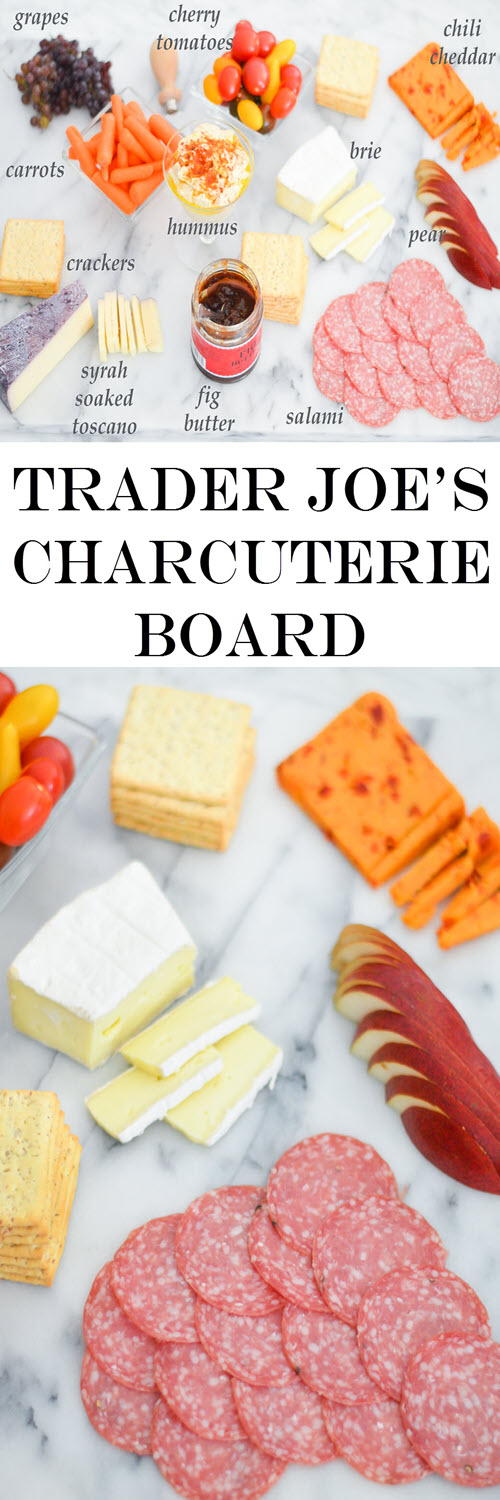 Cheap + Easy Trader Joe's Charcuterie Board Shopping List for meat + cheese platter.A great last minute appetizer to serve with wine or sangria. #charcuterie #meatplate #cheeseplate #traderjoes #appetizer #lmrecipes #meatplate #cheeseplate
