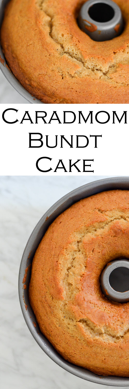 Honey Cardamom Bundt Cake Recipe. This delicious cake mix recipe in a bundt pan is perfectly flavored. SErve with whipped cream and berries or on its own! #LMrecipes #cake #cakerecipe #dessert #dessertrecipe #foodblog #foodblogger #honey #cardamom #recipes