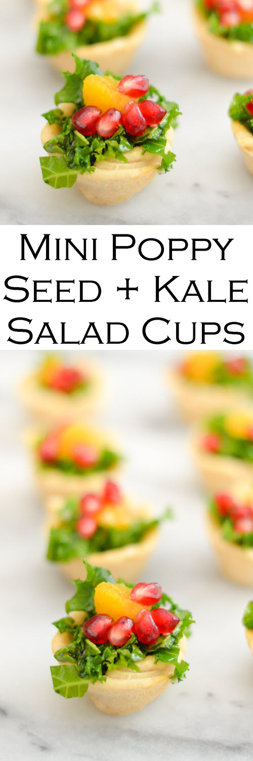 Poppy Seed + Kale Salad Cups - Thanksgiving Appetizers. A delicious kale salad recipe with pomegranate seeds and orange segments, this mix is great for any holiday meal. Place salad bits in homemade mini tart crusts for festive bite size appetizers. #LMrecipes #salad #thanksgiving #friendsgiving #kale #pomegranate #bitesize #holidays #christmas #appetizers #partyfood