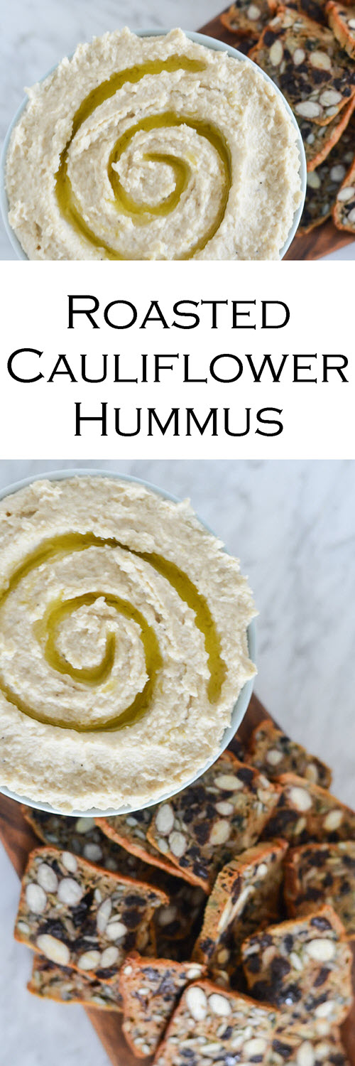 Roasted Cauliflower Dip. This healthy and delicious Cauliflower Hummus Dip is easy and delicious. A white bean hummus recipe without tahini, this dip is great with flavorful crackers and raw veggies alike!