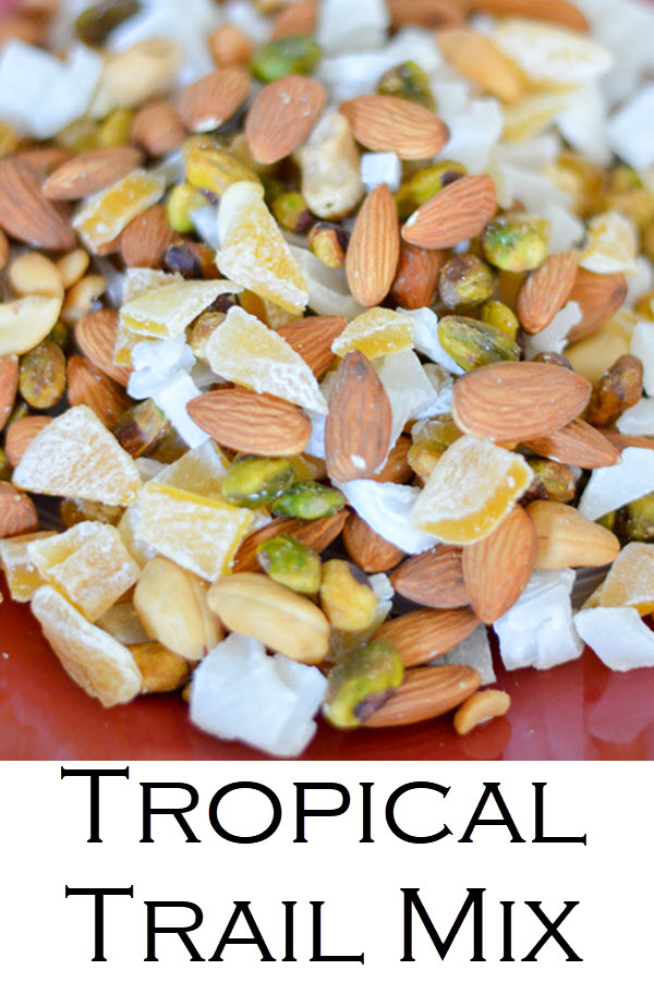 Tropical Trail Mix. This delicious trail mix recipe has dried mango and dried young coconut for a wonderful island recipe! A healthy snack you can make in minutes.
