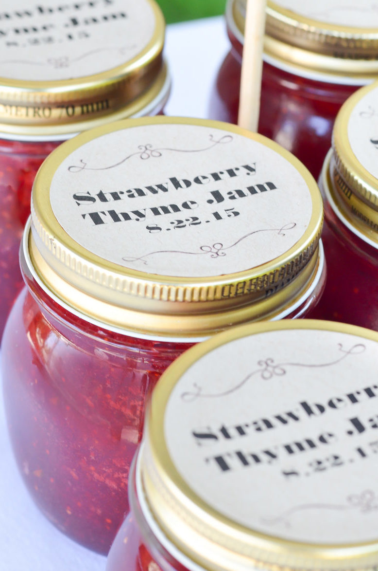 Strawberry Thyme Jam Recipe | Homemade Wedding Favors