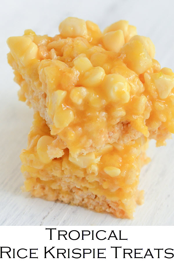 Tropical Rice Krispie Treats. These mango rice krispie treats are filled with white chocolate macadamia nut flavors and topped with a fresh mango glaze. A tropical dessert everyone will love!
