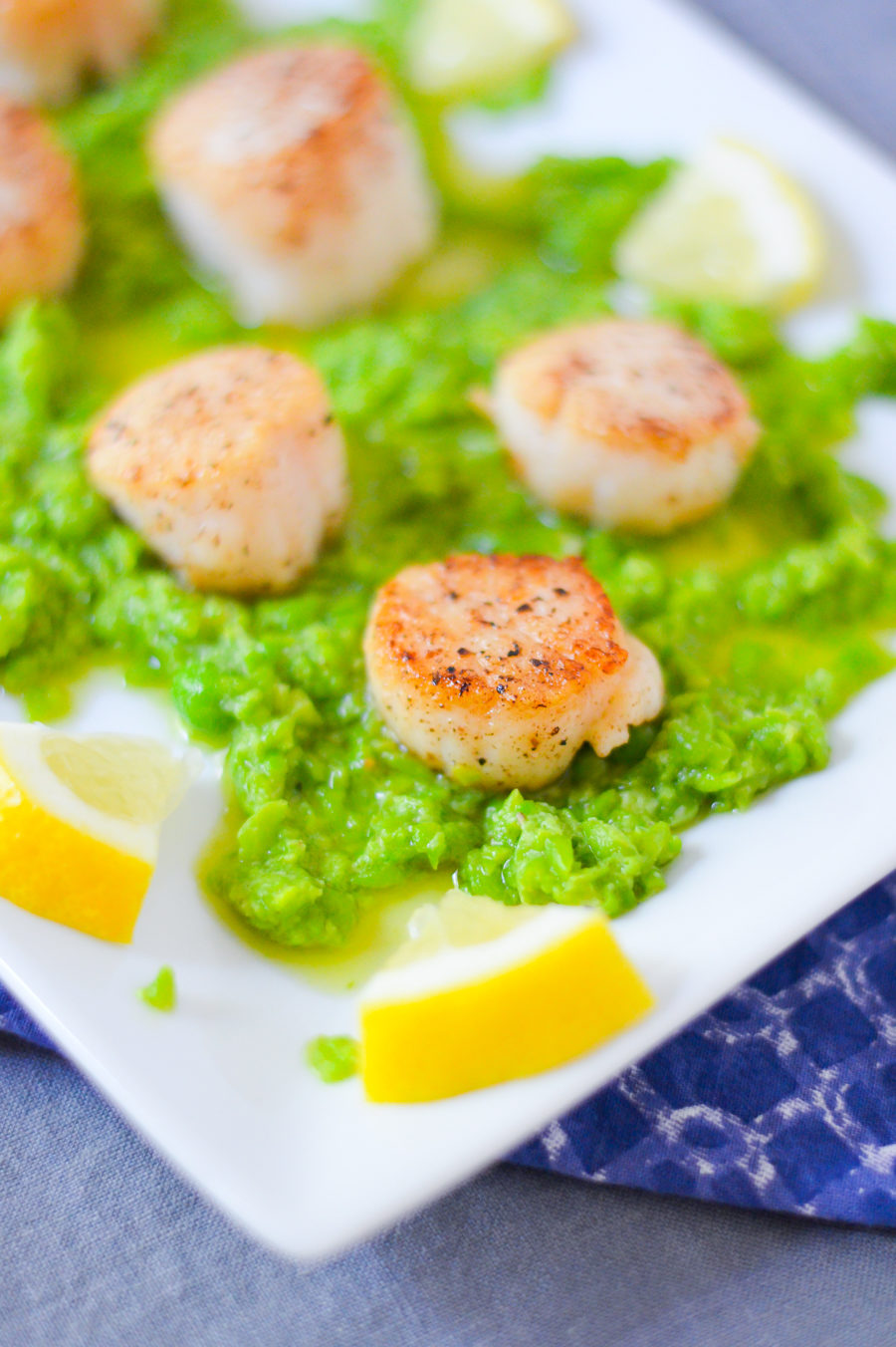 Seared Scallops + Pea Pesto