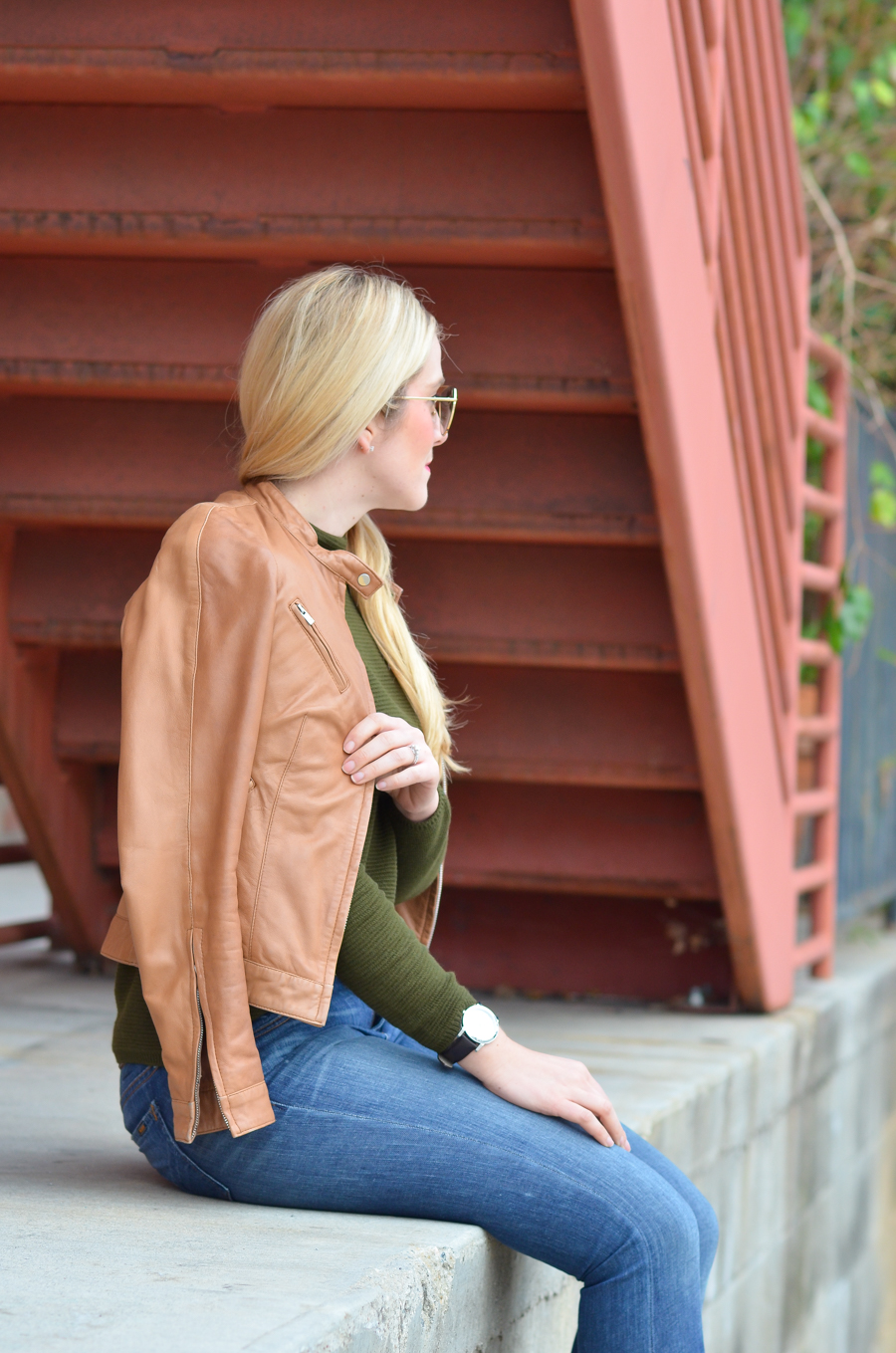 Rewear Wednesday - Tan Leather Jacket Outfits