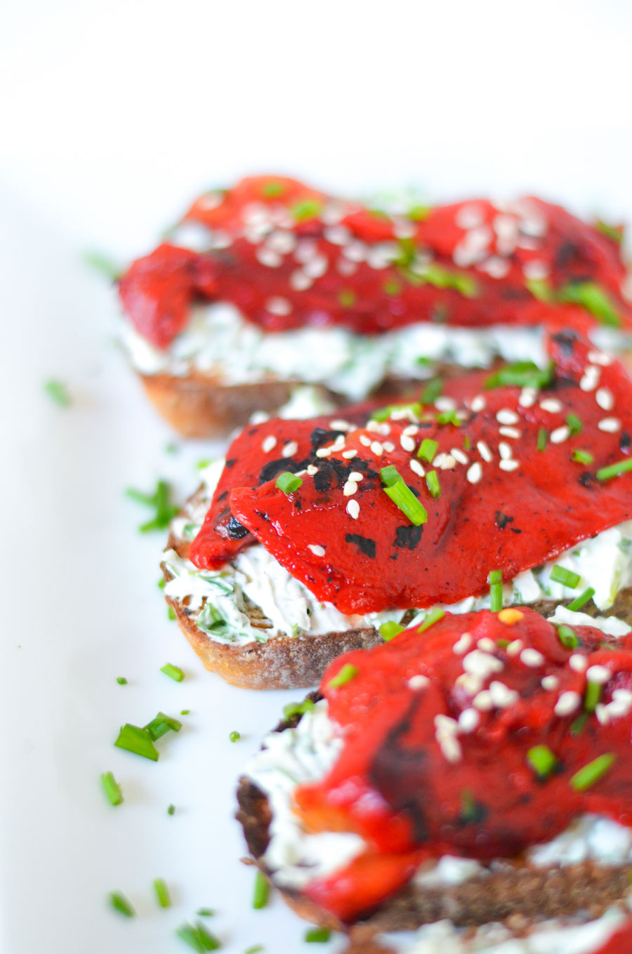 Roasted Red Bell Pepper Toast w. Herbed Goat Cheese