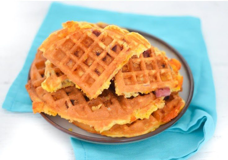 Ham + Cheese Waffles