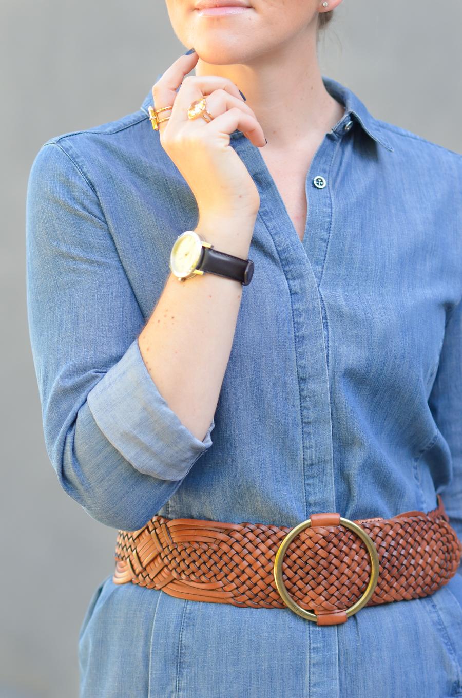 How to Style Denim Shirt Dress | Eileen Fisher Denim Dress