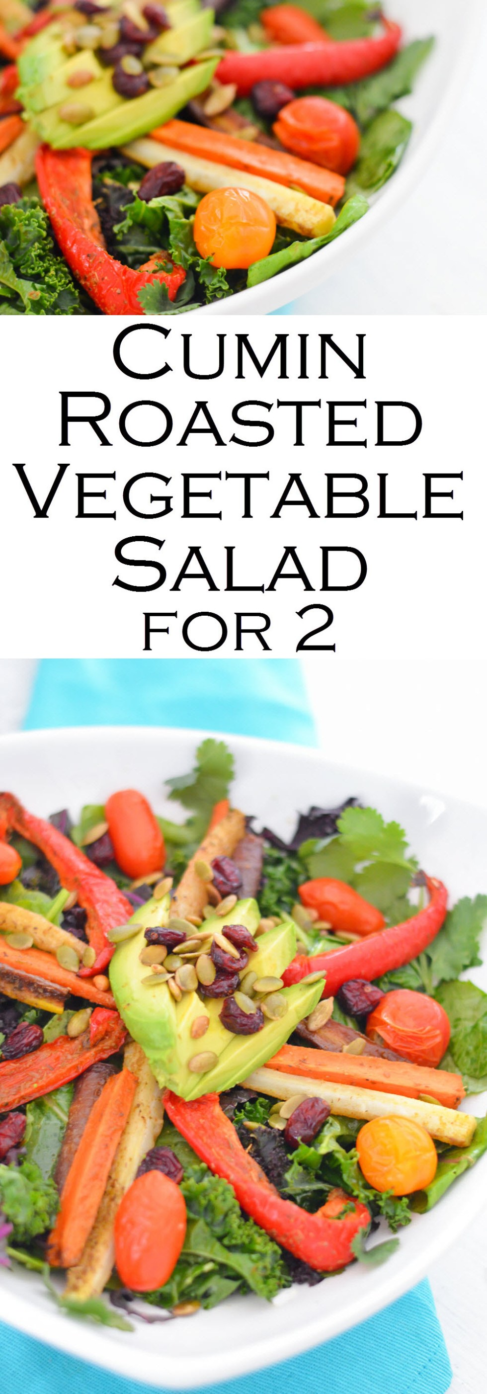 Cumin Roasted Vegetable Salad - Healthy, Vegan Entree Recipe for 2