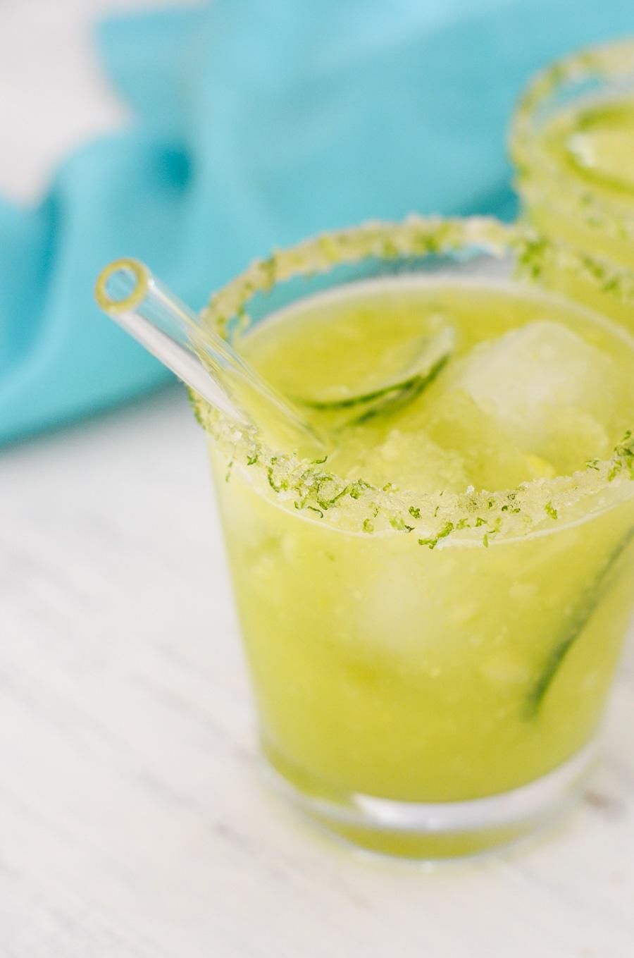 Cucumber Lemonade Recipe w. Honey, Salt, + Sugar Rim