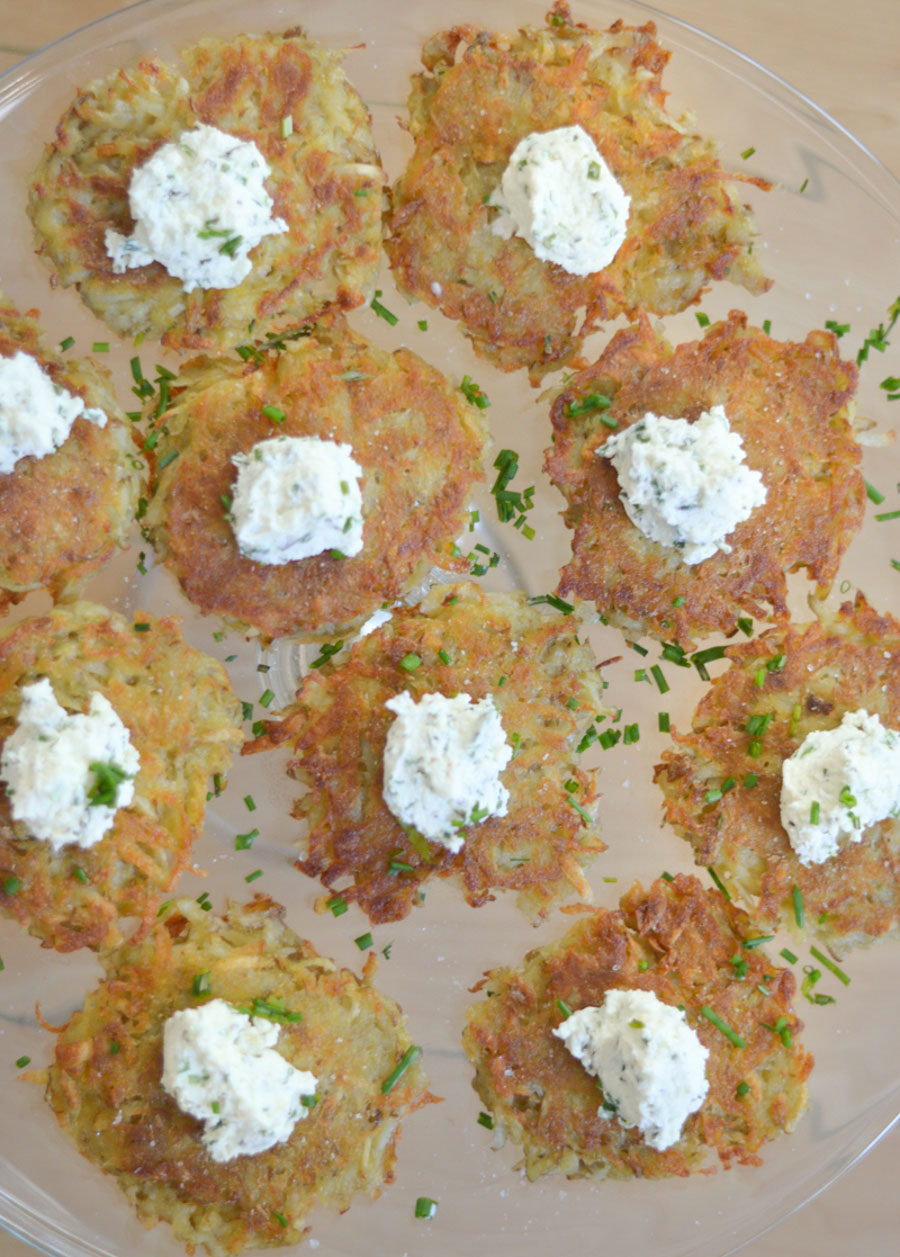 Party of 8 - Make Ahead Menu - Potato Rosti + Herbed Goat Cheese Appetizer Recipe - Luci's Morsels - LA Lifestyle Blog