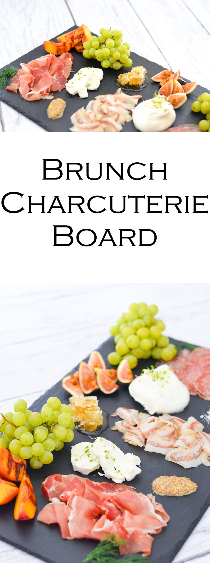 Brunch Charcuterie Board for Breakfast - Shopping List + layout w. three cured meats, 2 cheese, toppings, and fruits to serve!