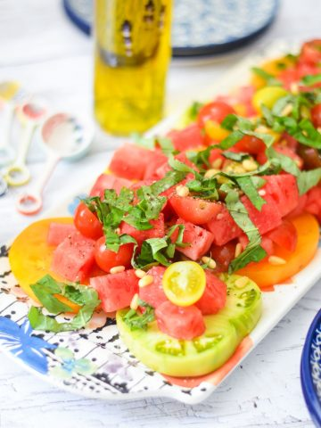 Heirloom Tomato Watermelon Basil Salad - Healthy Vegan Summer Recipe - Lucis Morsels LA Healthy Food Blogger