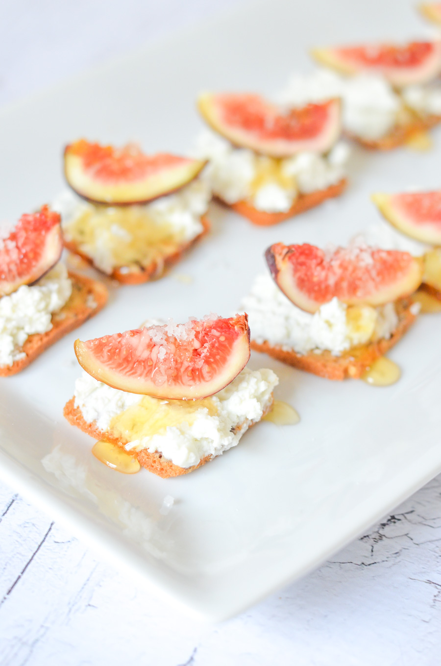 Salted Honey + Fig Appetizer on Crackers