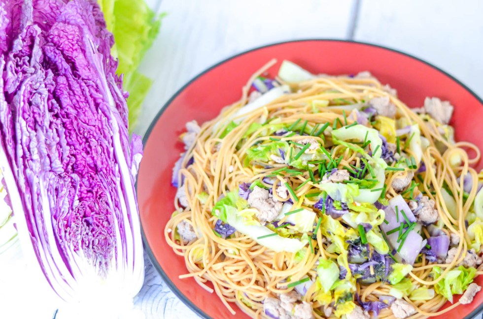Napa Cabbage, Ground Turkey, Spaghetti | Healthy Weeknight Dinner