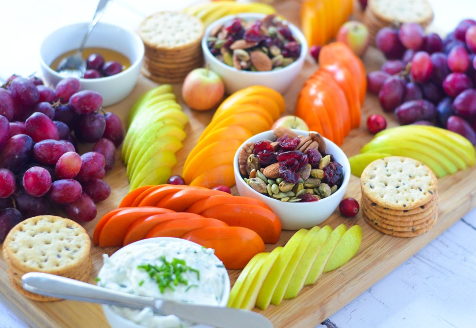 Easy Fruit and Cheese Appetizer Board for 8 People w. persimmons, apple, trail mix, crackers, and goat cheese