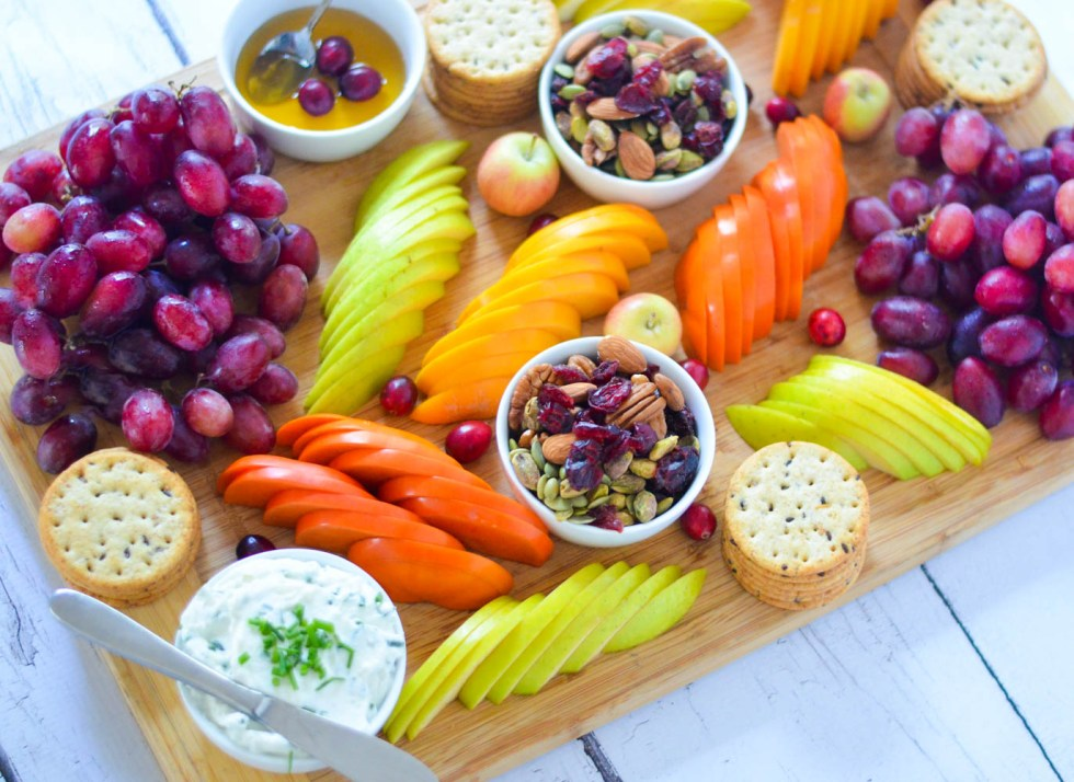 Easy Fruit + Cheese Appetizer Board for 8 People w. persimmons, apple, trail mix, crackers, and goat cheese