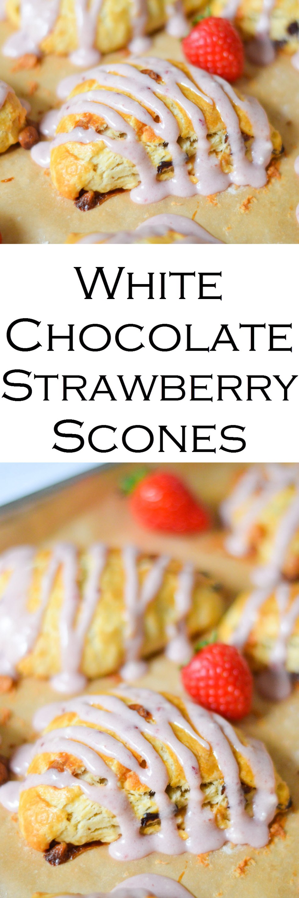 White Chocolate Strawberry Scones w. Strawberry Icing Drizzle
